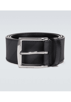 London check leather belt