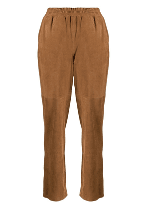 Arma straight-leg suede trousers - Neutrals