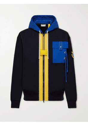 MONCLER GENIUS - 1 Moncler JW Anderson Canvas-Trimmed Cotton-Jersey Zip-Up Hoodie - Men - Blue - L