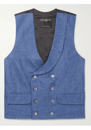 Favourbrook - Slim-Fit Double-Breasted Linen-Jacquard Waistcoat - Men - Blue - UK/US 38
