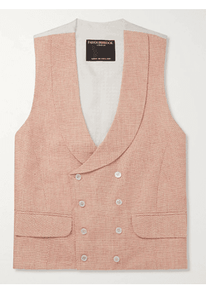 Favourbrook - Slim-Fit Double-Breasted Linen-Jacquard Waistcoat - Men - Pink - UK/US 38
