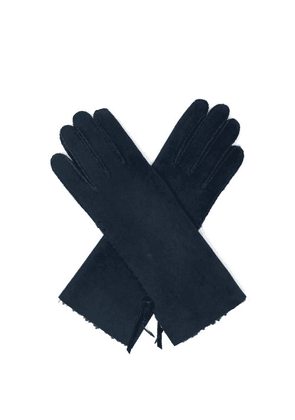 Agnelle - Mia Whipstitched Shearling-lined Leather Gloves - Womens - Navy
