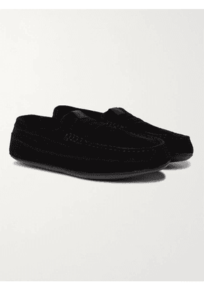 GRENSON - Sly Shearling-Lined Suede Slippers - Men - Black - UK 7