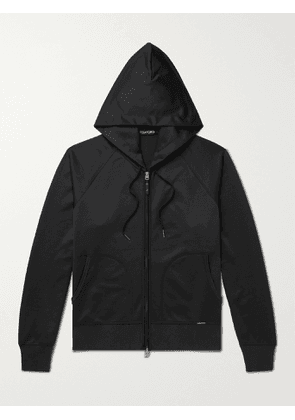 TOM FORD - Tech-Jersey Zip-Up Hoodie - Men - Black - IT 44