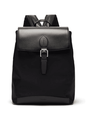 Ralph Lauren Purple Label - Voyager Leather And Technical-canvas Backpack - Mens - Black