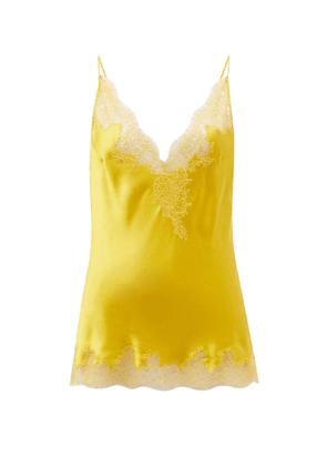 Carine Gilson - Lace-trimmed Silk-charmeuse Cami Top - Womens - Yellow