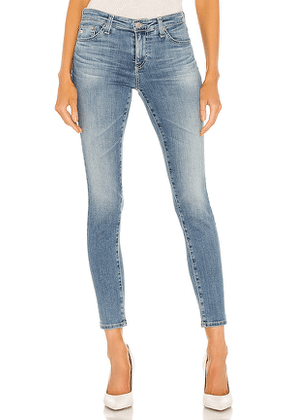 AG Adriano Goldschmied Legging Ankle Skinny Jean in Blue. Size 25, 27, 28, 29, 30.