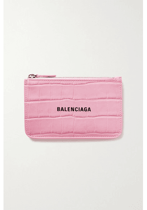 Balenciaga - Cash Printed Croc-effect Leather Wallet - Pink