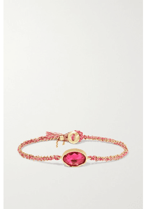 Brooke Gregson - Orbit 18-karat Gold, Silk And Tourmaline Bracelet