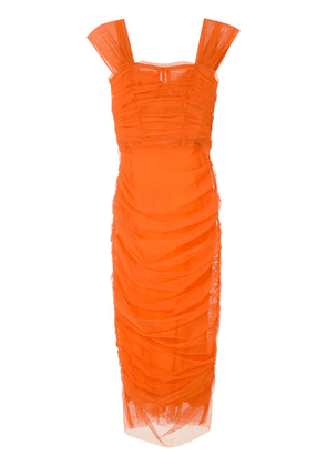 Dolce & Gabbana ruched tulle fitted dress - Orange
