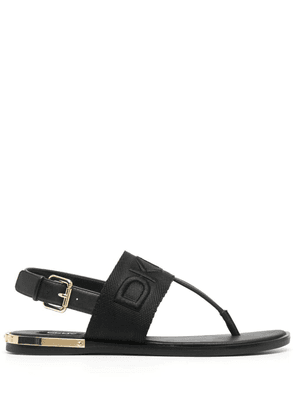 DKNY embossed logo thong strap sandals - Neutrals