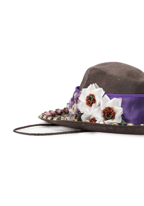 Dolce & Gabbana floral embellished hat - Purple