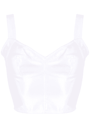 Dolce & Gabbana cropped lace panel top - White