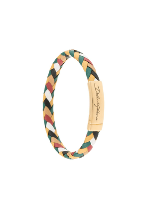 Dolce & Gabbana engraved logo braided bracelet - Multicolour