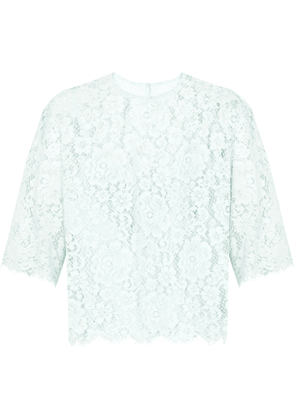 Dolce & Gabbana sheer embroidered blouse - Blue