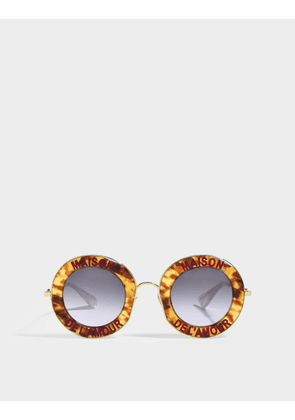 Gucci Round Sunglasses in Striped Brown Acetate with Yel