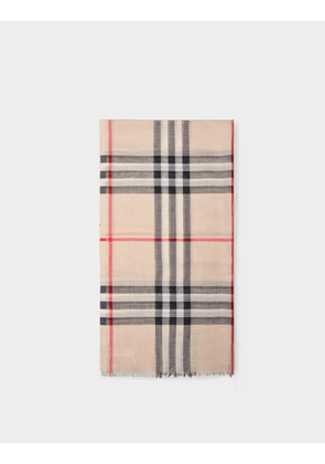 Burberry Giant Check Gauze Scarf in Stone Check Wool and Silk