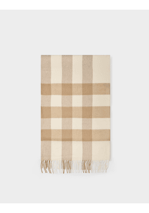 Burberry Half Mega Check Scarf in White and Alabaster Cashmere