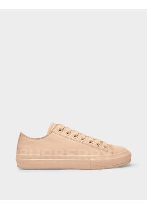 Burberry Larkhall Sneakers in Light Almond Cotton Canvas