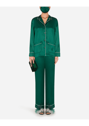 Dolce & Gabbana Loungewear Collection - Dg-embellished pajama set with matching face mask GREEN female 42