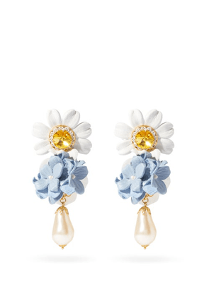 Dolce & Gabbana - Crystal, Leather And Faux-pearl Drop Clip Earrings - Womens - Blue Multi