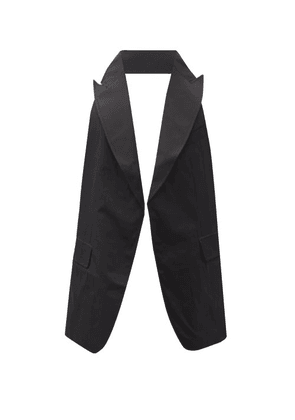Comme Des Garçons Shirt - Peak-lapel Cotton Backless Waistcoat - Mens - Black