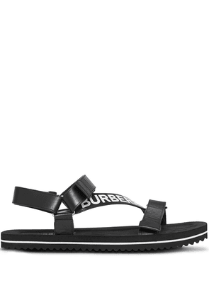 Burberry logo-print leather sandals - Black