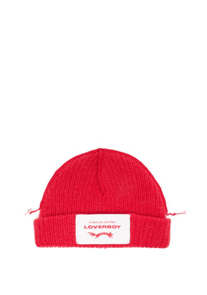 Charles Jeffrey Loverboy - Logo-patch Wool-blend Beanie Hat - Womens - Red