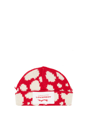 Charles Jeffrey Loverboy - Logo-patch Spot-intarsia Wool-blend Beanie Hat - Womens - Red White