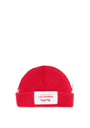 Charles Jeffrey Loverboy - Logo-patch Lambswool-blend Beanie Hat - Mens - Red