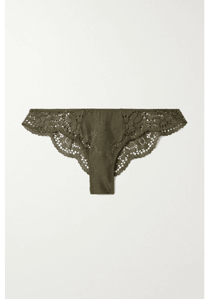 Eberjey - Beatrix Stretch-lace And Mesh Briefs - Army green