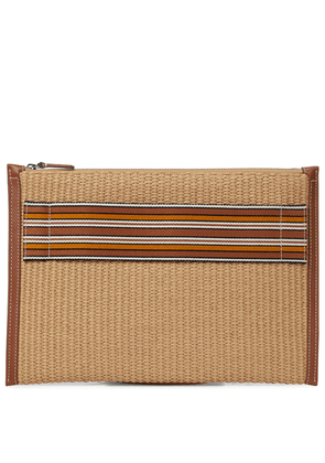 The Suitcase Stripe raffia pouch