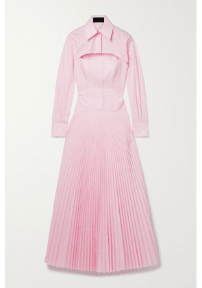 Brandon Maxwell - Layered Pleated Cotton-blend Poplin Maxi Dress - Baby pink