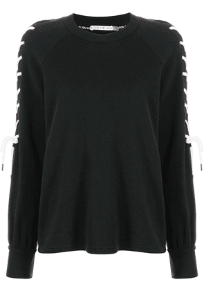 Alice+Olivia Charlotte lace-sleeve sweatshirt - Black