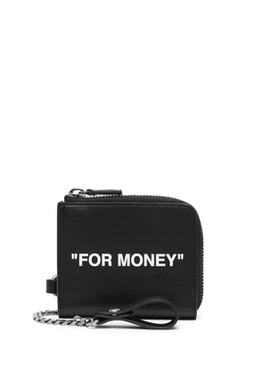 Off-White quote print chain wallet - Black