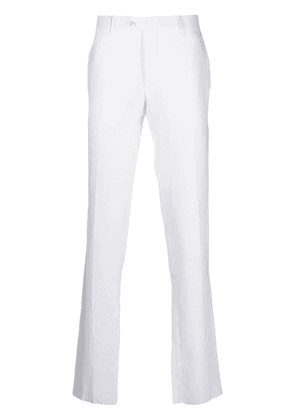 Billionaire embroidered-crest tailored trousers - White