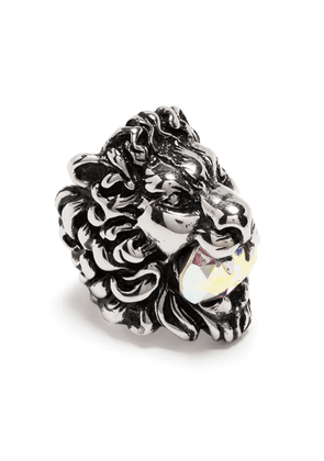 Gucci crystal-embellished lion head ring - Silver