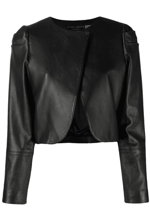 Alice+Olivia cropped leather jacket - Black