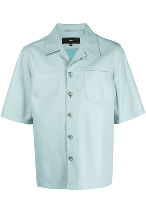 Arma button-up short-sleeved leather shirt - Blue