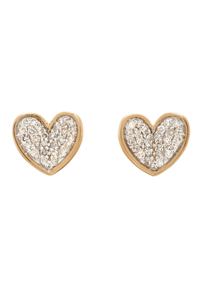 Adina Reyter Gold Tiny Pave Folded Heart Earrings