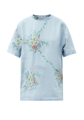 By Walid - Tatum Vintage Embroidered-linen T-shirt - Womens - Blue