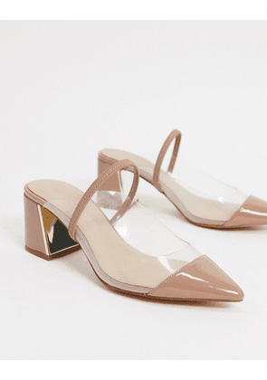 Aldo mid heel clear pointed sling back shoes in beige-Neutral