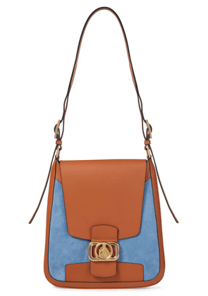 Lanvin Suede And Leather Shoulder Bag Woman Light blue Size --
