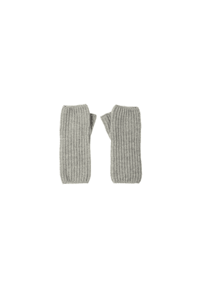 Johnstons Of Elgin Ribbed Womens Cashmere Wristwarmers Silver