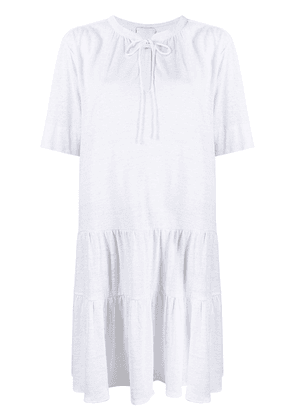 Allude tied-neck T-shirt dress - White