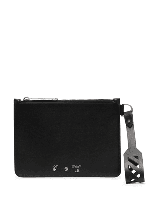 Off-White perforated strap zipped clutch - Black