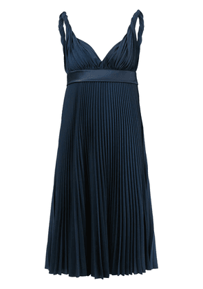 Burberry empire-line pleated dress - Blue