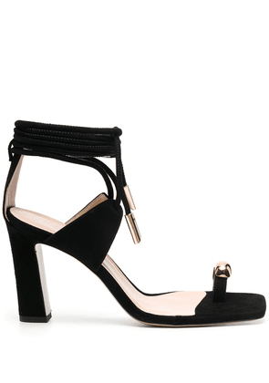 Gia Couture metal toe strap detail sandals - Black