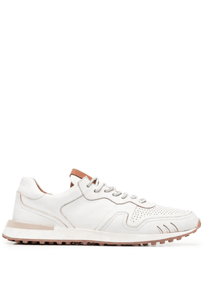 Buttero perforated leather trainers - White