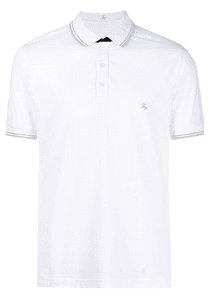 Fay logo-patch short-sleeved polo shirt - White